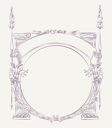 Hand drawn vintage style border with floral decoration and columns Vektorové ilustrace