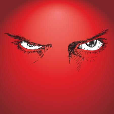 결정된: 두려움 응시하는 눈의 스케치 손으로 그린 그림 일러스트