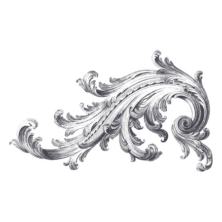 verschnörkelt: Alte Vektor-Stich von Akanthus-Scroll-Design