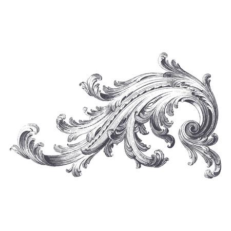 barroco: Vector antiguo grabado del diseño de la voluta de acanto