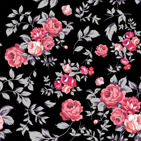 pattern: Decoratieve naadloze patroon met mooie shabby rozen Stock Illustratie