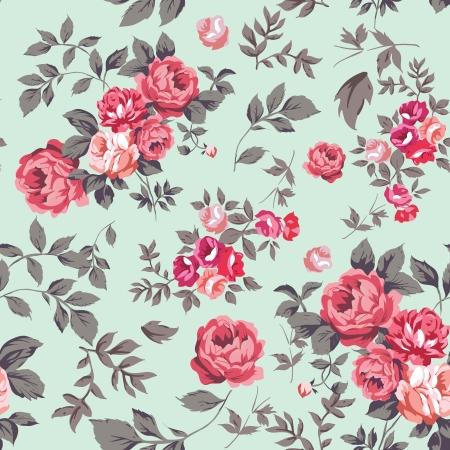 아름다운 초라한 장미 장식 원활한 패턴 일러스트