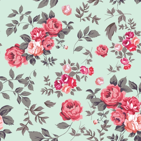 Decorative seamless pattern with beautiful shabby roses Vector