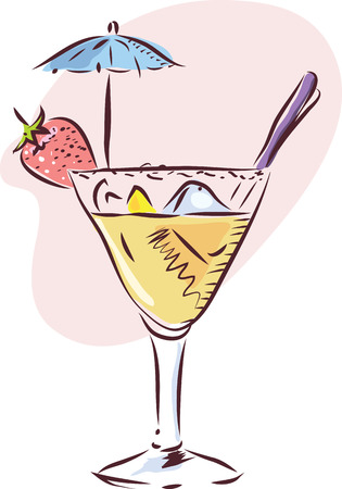 Vector illustration of a glass of cocktail with fruit decoration Vector