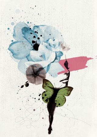 donna farfalla: Illustrazione Mixed media di un ritratto donna con le ali di farfalla e decorazione floreale Archivio Fotografico