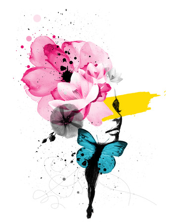 Ilustração de mídia mista de um retrato de mulher com asas de borboleta e decoração floral Foto de archivo - 23864758
