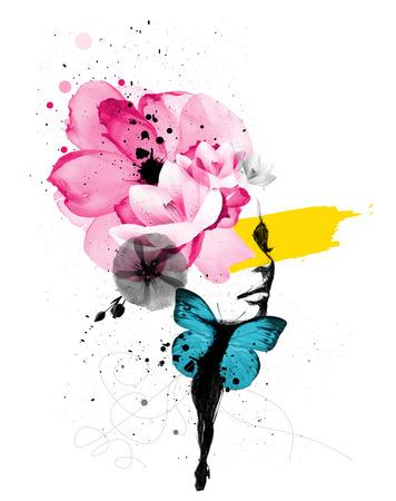 mariposa azul: Ilustración mixta de un Retrato de mujer con alas de mariposa y decoración floral