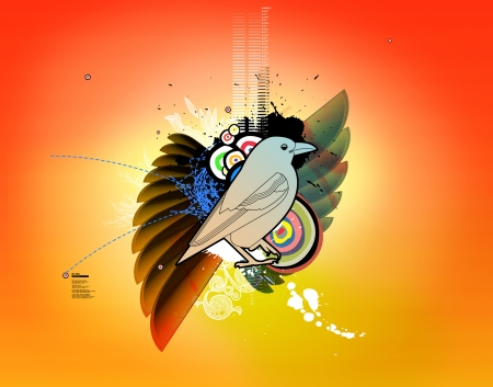 Creative and colorful bird illustration poster Stock Illustration - 23864760
