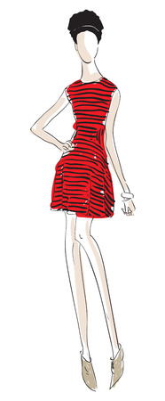 fashion llustration of a girl with a red striped dress Vector