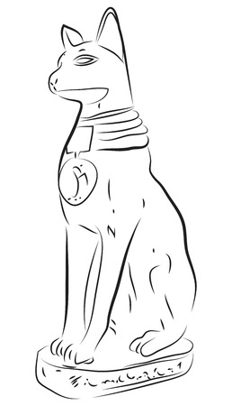 bast: Ancient Egyptian Cat God Bastet Statue Bast Deity Illustration