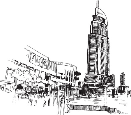 dubai mall: Urban view sketcy drawing illustration with modern buildings