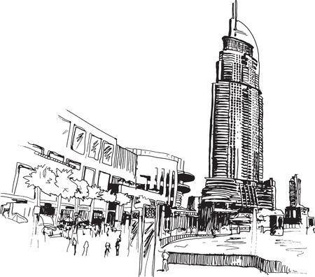 Visión urbana sketcy dibujo ilustración con los edificios modernos