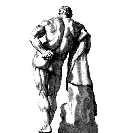 Ancient style vector engraving of a male body backside Stock Vector - 24751080