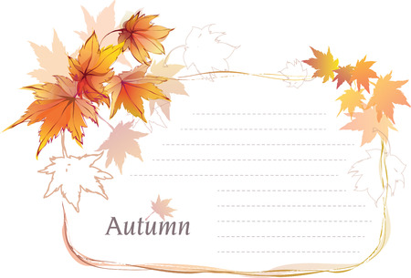 Vector blank paper layout with beautiful autumn leaves Vector