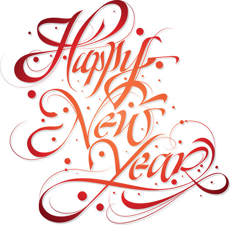 Happy new year greeting typography with hand-lettered calligraphy Vector