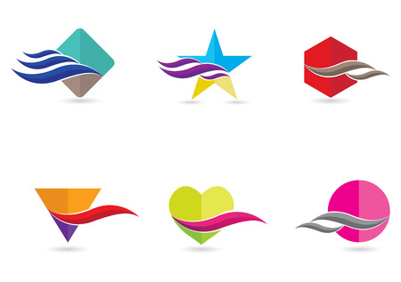 Six pieces of abstract and modern flat icons in flashy colors Vector