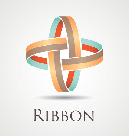 Abstract and modern ribbon icon with two entangled circles