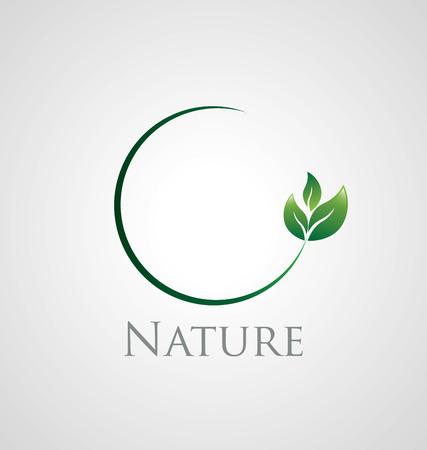 verde: Icono abstracto de la naturaleza con hojas verdes en una rama círculo