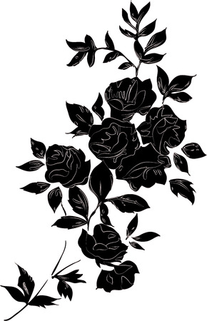 Decorative black rose bouquet with outlines, isolated black on white Illustration