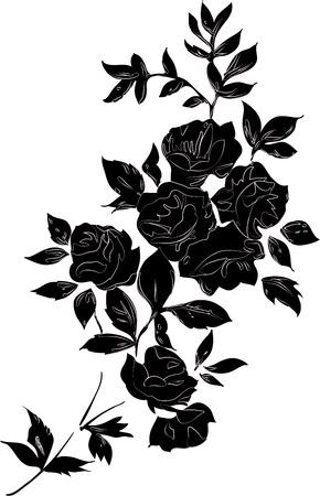 flores retro: Negro decorativo ramo color de rosa con los contornos, aislado en negro sobre blanco