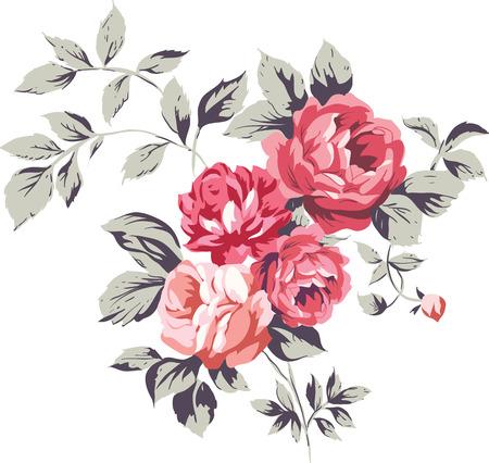 tessile: Decorativi vintage rosa bouquet illustrationon bianco Vettoriali