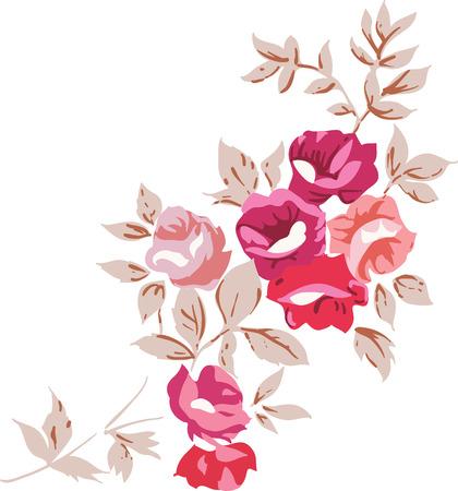 Decorative vintage rose bouquet illustrationon white