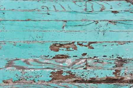 turquesa: Paneles de madera sucias con capa de pintura pelada Foto de archivo