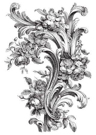 Ancient floral scroll engraving with peonies and acanthus designs