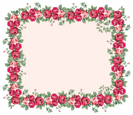 Shabby rose frame Vector