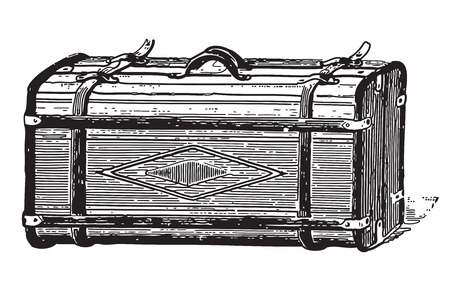 coffer: Ancient engraving of an old style coffer Illustration