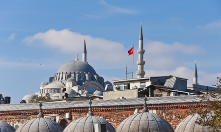 suleymaniye: Architectural detail from the New Mosque or Yeni Camii in Eminonu area, Istanbul