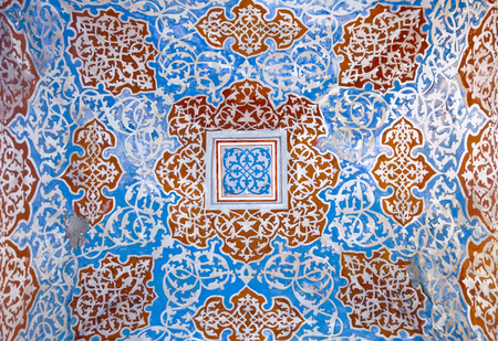 arabic architecture: Turkish-Ottoman style ornaments on old peeled wall