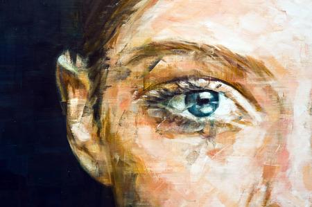teknik: Målade kvinna ögon, halv ansikte skönhet