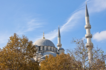 camii: The New Mosque or Yeni Camii in Eminonu area, Istanbul Stock Photo