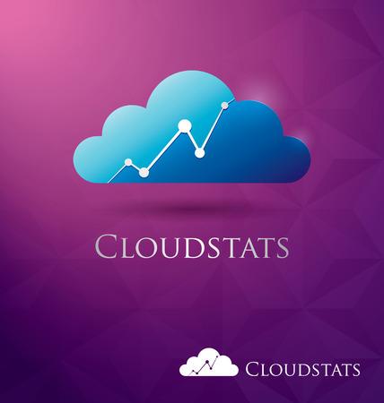 Nuvola blu con le statistiche bar moderno e luminoso, icona del design Archivio Fotografico - 25977879