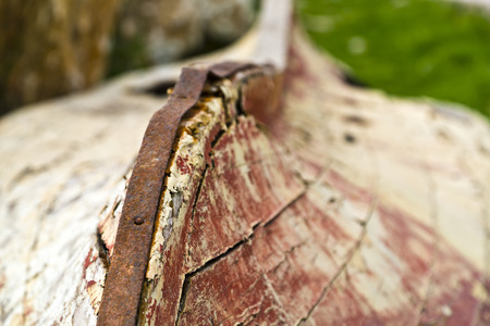 Abandoned fishing boat detail photo