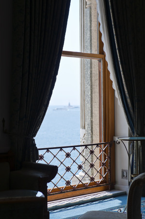 Classic window looing at the Bosphorus view photo