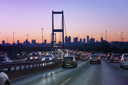 Traffic on the Bosporus Bridge, Istanbul