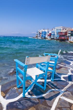 the little venice: Mykonos Island, Greece