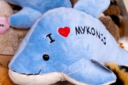 Plush dolphin touristic souvenir, Mykonos Island, Greece photo