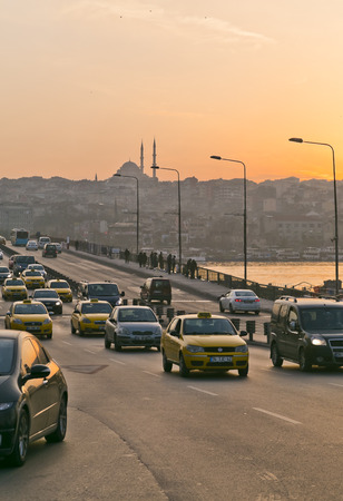 Sunset over the Golden Horn, Galata Bridge