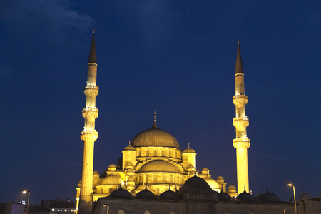 New Mosque or Yeni Cami at night photo