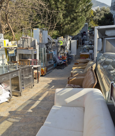 Second hand furnitures displayed at a store photo