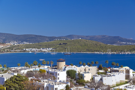 aegean sea: Gumbet, Bodrum, Turkey - Beautiful view from the popular holiday destination in spring time Stock Photo