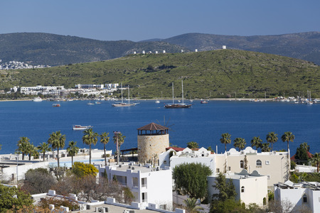 architectural survey: Gumbet, Bodrum, Turkey - Beautiful view from the popular holiday destination in spring time Stock Photo
