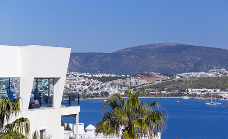 architectural survey: Gumbet, Bodrum, Turkey - Beautiful view from the popular holiday destination in spring time Editorial