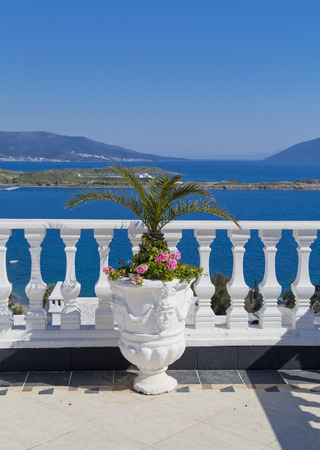 turkey beach: Gumbet, Bodrum, Turkey - Beautiful view from the popular holiday destination in spring time Stock Photo