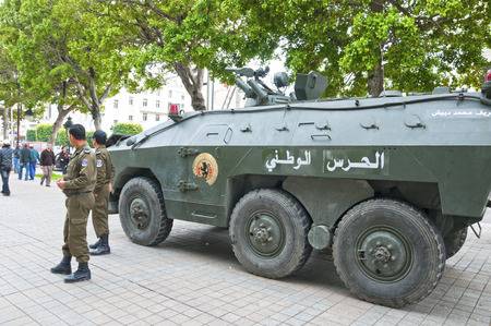 arab spring: Local forces in the streets of Tunisia during the Jasmin Revolution, Arab Spring protests Editorial