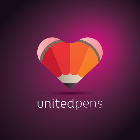 Trendy icon design of a heart shape with two compound pencils Vector
