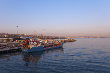 seaway: ISTANBUL, TURKEY - APRIL 27, 2014  IDO ferry station and ferries carrying passengers from Yenikapi to many points thru Marmara Sea on April 27, 2014